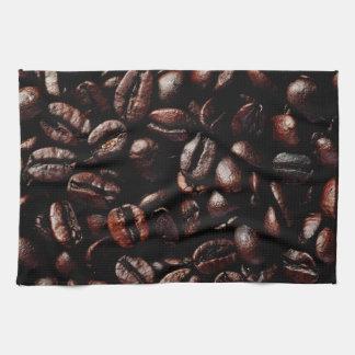Dark Brown Roasted Coffee Beans Texture Tea Towel