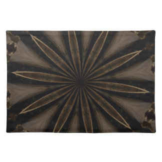 Dark Brown Rustic Kaleidoscopic Flower Art Placemat