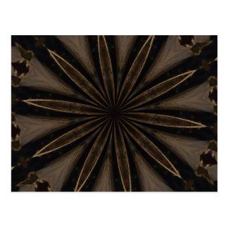 Dark Brown Rustic Kaleidoscopic Flower Art Postcard