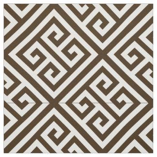 Dark Brown, White Med Greek Key Diag T Pattern #1 Fabric