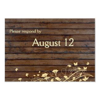 Dark Brown Wood rsvp with envelopes 9 Cm X 13 Cm Invitation Card