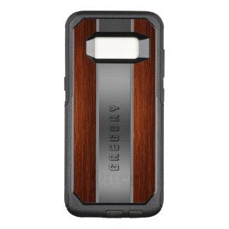Dark Brown Wood Silver Stripe Texture OtterBox Commuter Samsung Galaxy S8 Case