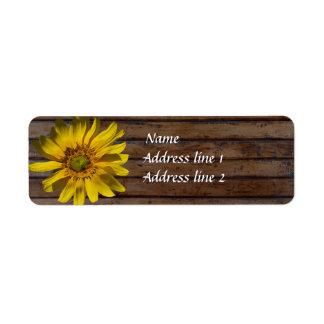 Dark Brown Wood Sunflower Address Labels