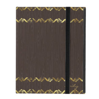 Dark Brown Wood With Gold Floral Border 3 iPad Cover