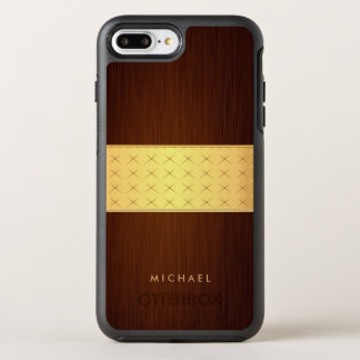 Dark Brushed Rosewood Wood Look with Gold Band OtterBox Symmetry iPhone 8 Plus/7 Plus Case