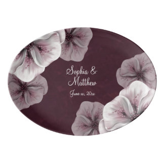 Dark 'Burgundy Textured Floral Porcelain Serving Platter