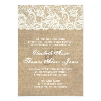 Dark Burlap and Lace Rustic Wedding Invitation