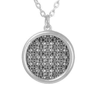 Dark Camo Style Design Silver Plated Necklace