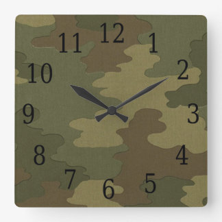Dark Camouflage Square Clock
