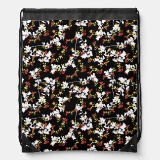 Dark Chinoiserie Floral Collage Pattern Drawstring Bag