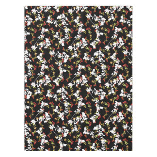Dark Chinoiserie Floral Collage Pattern Tablecloth