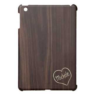 Dark Chocholate Faux Wood Pattern with engraving Case For The iPad Mini