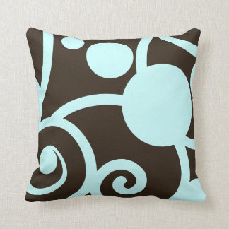 dark chocolate brown and teal abstract pattern cushion