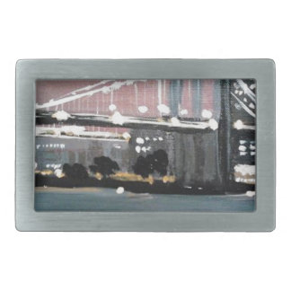 Dark CityScape Rectangular Belt Buckles