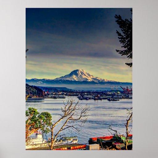Dark Clouds Over Mount Rainier Posters