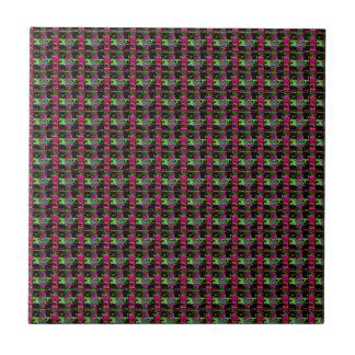 DARK Colored Stripes : Elegant UNIQUE Pattern GIFT Small Square Tile
