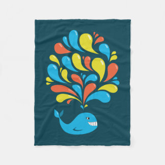 Dark Colorful Splash Happy Cartoon Whale Fleece Blanket