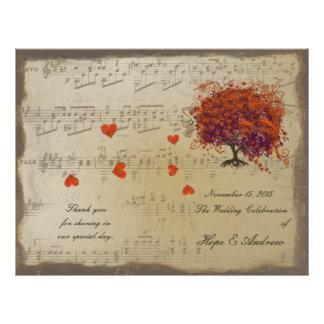 Dark Coral Heart Leaf Tree Wedding Program 21.5 Cm X 28 Cm Flyer
