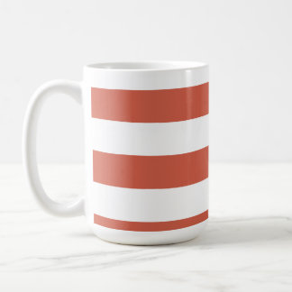 Dark Coral Horizontal Stripes; Striped Basic White Mug