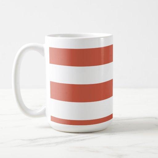 Dark Coral Horizontal Stripes; Striped Coffee Mug