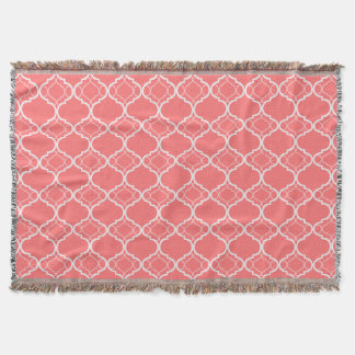 Dark Coral Pink Quatrefoil Geometric Pattern