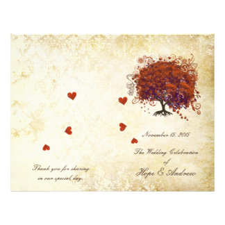 Dark Coral Plum Heart Leaf Tree Wedding Program 21.5 Cm X 28 Cm Flyer