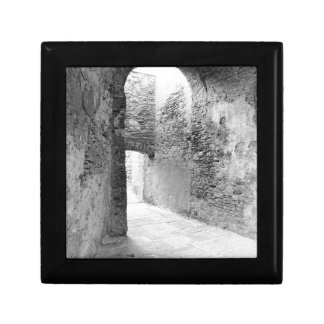 Dark corridors of an old fortification structure gift box