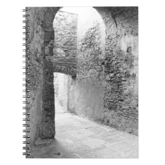 Dark corridors of an old fortification structure notebook