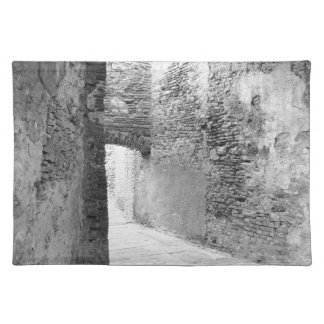 Dark corridors of an old fortification structure placemat