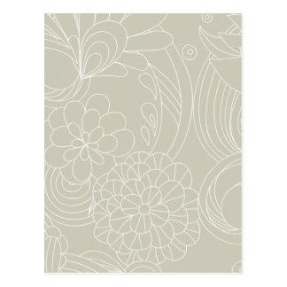 Dark Cream flower Lines Postcards