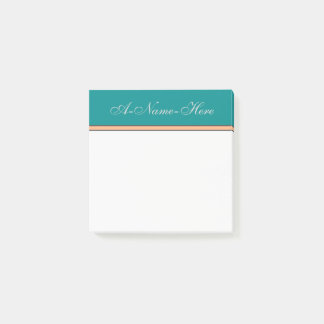 Dark Cyan Background and Light Gray Elegant Name Post-it Notes