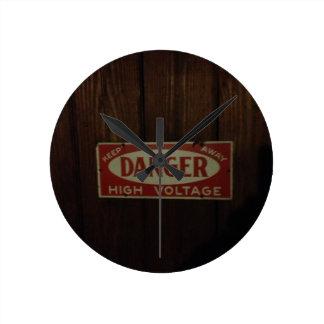 Dark danger high voltage round clock