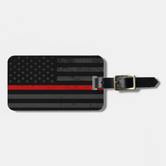 Dark Distressed Fire Fighter Flag Luggage Tag