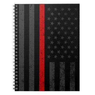 Dark Distressed Fire Fighter Flag Notebooks