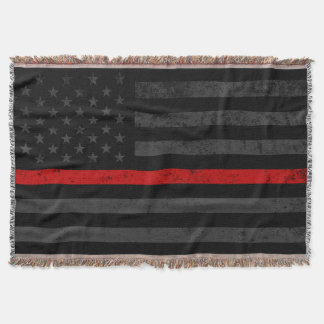 Dark Distressed Fire Fighter Flag Throw Blanket