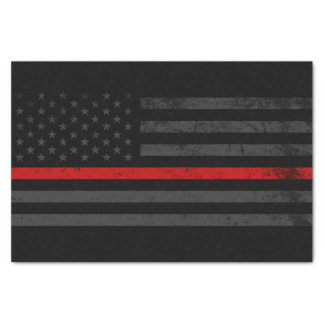 Dark Distressed Fire Fighter Flag Tissue Paper