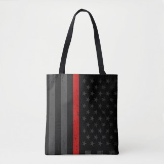 Dark Distressed Fire Fighter Flag Tote Bag