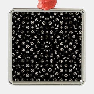 Dark Ditsy Floral Pattern Metal Ornament