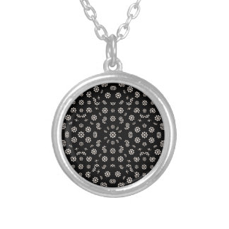 Dark Ditsy Floral Pattern Silver Plated Necklace