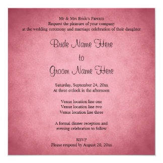 Dark Dusky Pink Mottled Pattern Wedding 13 Cm X 13 Cm Square Invitation Card