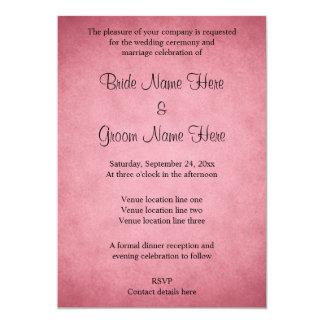 Dark Dusky Pink Mottled Pattern Wedding 13 Cm X 18 Cm Invitation Card