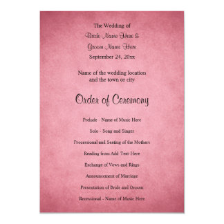 Dark Dusky Pink Mottled Pattern Wedding Program 13 Cm X 18 Cm Invitation Card
