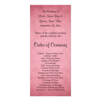 Dark Dusky Pink Mottled Pattern Wedding Program Rack Card