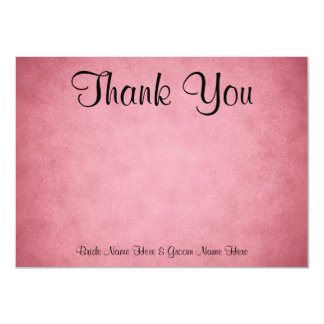 Dark Dusky Pink Mottled Pattern Wedding Thank You 11 Cm X 16 Cm Invitation Card