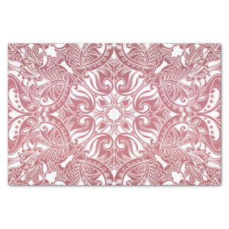 Dark Dusty Rose and White Paisley Tissue Paper