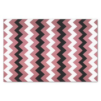 Dark Dusty Rose, Black and White Chevron Tissue Paper