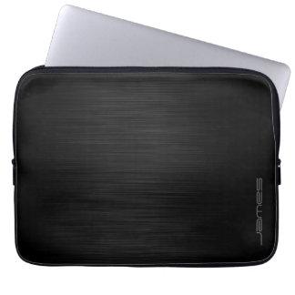 dark elegant perforated metal personalised by name laptop sleeve