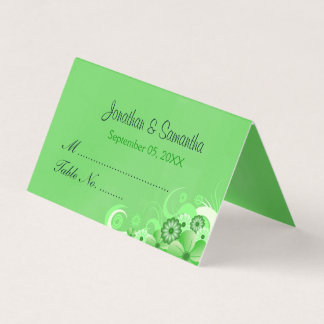Dark Emerald Green Hibiscus Floral Folded Table Place Card