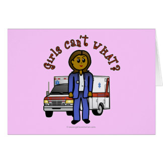 Dark EMT Paramedic Girl Card