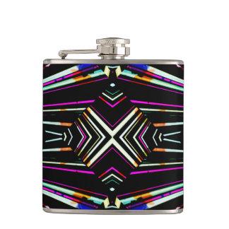 Dark Ethnic Sharp Bold Pattern Hip Flask